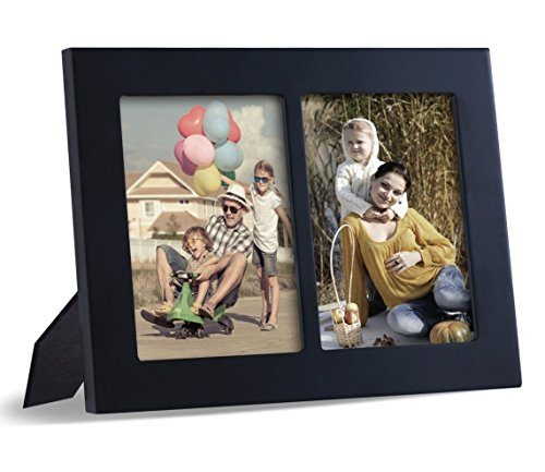Adeco Decorative Black Color Wood Divided Wall Hanging Artwork Print Picture Photo Frame, 2 Opening 5x7""