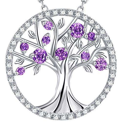 Mother's Day Jewelry Amethyst Necklace for Women Tree of Life Necklace Gifts for Wife Mom Birthday...