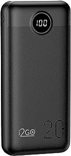 Carregador Portátil (Power Bank) Ultra Rápido 20000mAh Power Delivery 20W 2 Saídas USB + 1 Saída/Entrada USB-C Preto I2GO...
