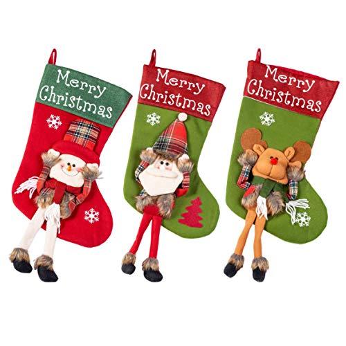 VWMYQ Unique Burgundy Knit Christmas Stockings(3-Piece Set)