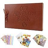 DAGUAI Vintage 80 páginas Kraft Paper Sheets Tarjeta Set Our My Adventure Book Album con Hecho a Mano DIY Tool Photo Foto de Archivo Scrapbook Photo Album