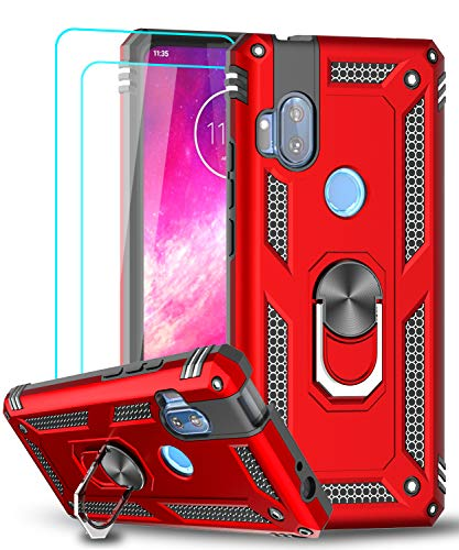 LeYi for Motorola Moto One Hyper Phone Case with Tempered Glass Screen Protector, Ring Kickstand for Men Military Bumper Hard TPU Shockproof Full Body Silicone Protective Cover for Moto One Hyper Red