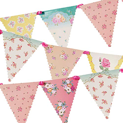 Talking Tables Tea Party Decorations Floral Banner Bunting | Truly Scrumptious | Great For Birthday Party, Baby Shower, Wedding And Anniversary | Paper, 4M