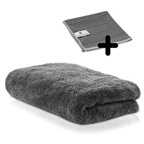 Marc Crouch® 550 GSM XL Mikrofasertuch + 1X Carbontuch Scheibentuch 30x30cm - zur professionellen Autopflege - Super Flexibles Tuch mit erstklassigem Handling - 70x90cm + enorme Saugfähigkeit
