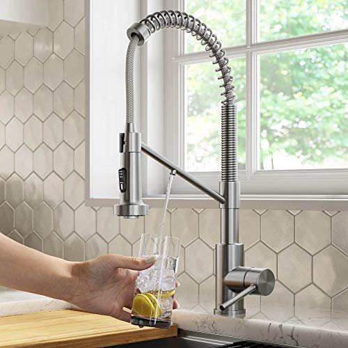 Kraus KFF-1610SFS Bolden 2-in-1 Commercial Style Pull-Down Single Handle Filter Kitchen Faucet for Reverse Osmosis or Water Filtration System, Spot Free Stainless Steel
