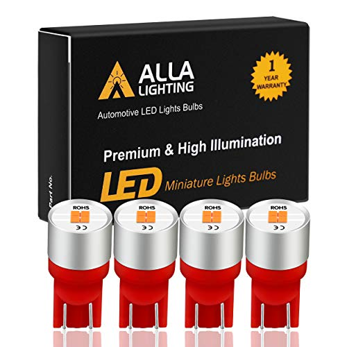 Alla Lighting 4x 168 194 LED Bulbs Extremely Super Bright T10 168 W5W 2825 175 158 Replacement 12V 1616 SMD Car License Plate Light Interior Map Dome Door Lights, Pure Red