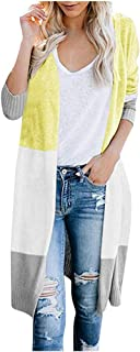 Remanlly Womens Long Cardigan Patchwork Long Sleeve Autumn Winter Sweater Coat