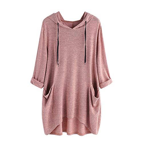 VEMOW Damenmode Tasche Lose Kleid Damen Rundhalsausschnitt beiläufige Tägliche Lange Tops Kleid Plus Größe(Y2-Rosa, 48 DE/XL CN)
