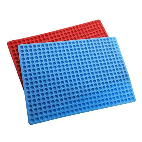 2 Silikon Backmatte Halbkugel Silikonmatte 40x29cm für Hundekekse, Hundeleckerlies Pralinenform, 1.3cm Halbkuge, Backform, Backunterlage, Hitzebeständig Antihaftend, Lebensmittelecht, Rot, Blau
