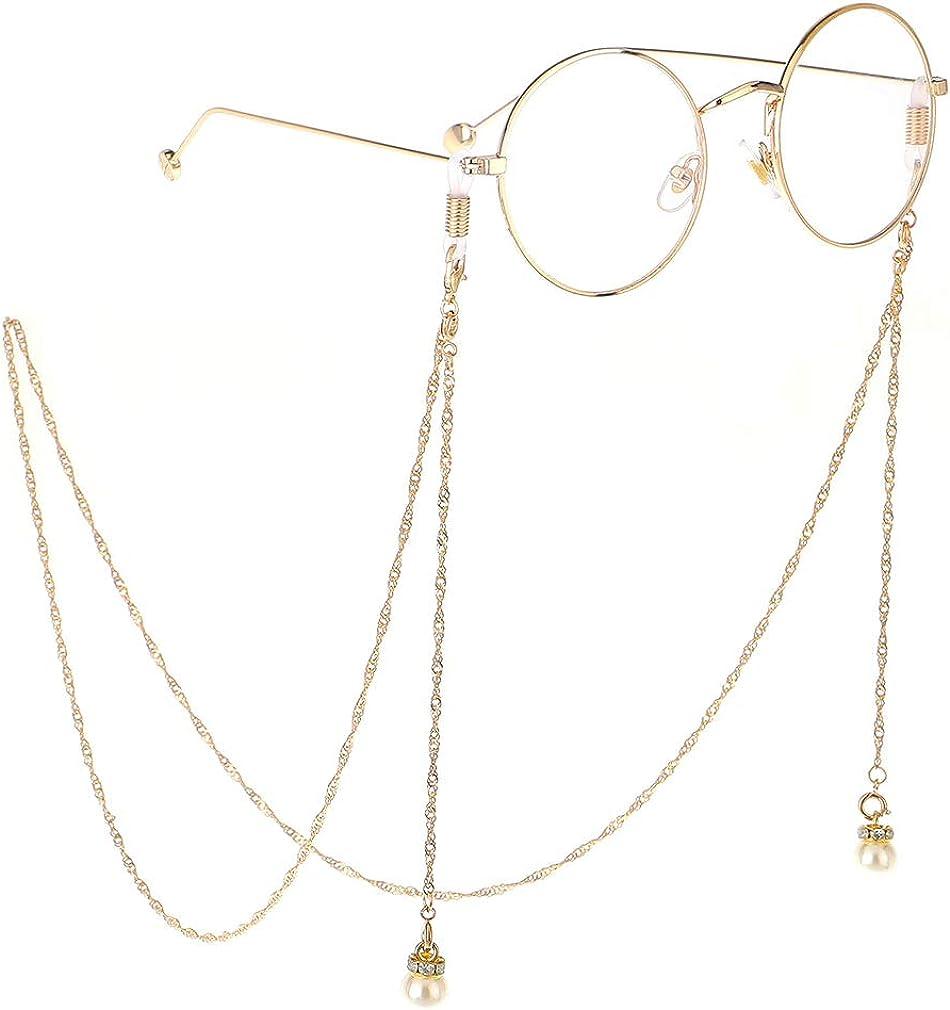 Kette f/ür Lesebrille Kette Handmade Lesen Brillenkette Brillenkordel Brille Geschenkidee Brillenschmuck Brillenband Glas Glasperlen Gold Kristall