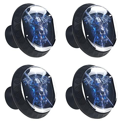 4 Pièces Boutons décoratifs de meuble Boutons de porte en verre cristal Poignées de tiroir rondes pour tiroir armoire de cuisine de chambre Épée crâne bleu