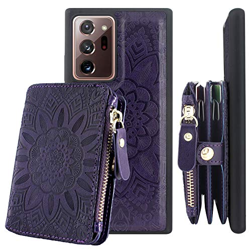 Harryshell [8 Card Slots] with [Block Theft Card Scanning] Function, Detachable Magnetic Zipper Pocket Wallet Case Cover Mini Phone Bag Purse for Samsung Galaxy Note 20 Ultra 5G (Flower Purple)