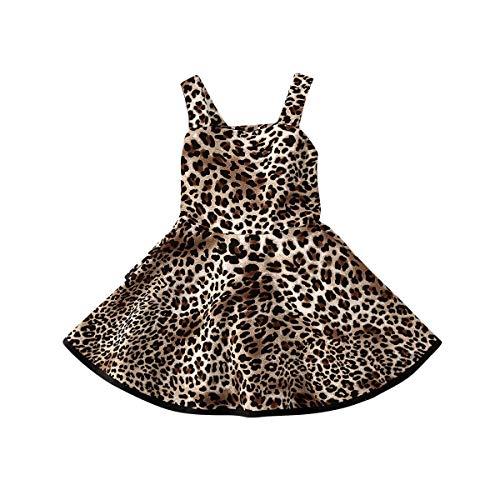 Siyova Vestito Bambina Abito Bambina Stampa Leopardata Cinturino Senza Maniche Moda Vestito Bambina Cerimonia Chiffon di Tunica Arricciata Vestito Bimba Elegante Vestito (Leopardo, 1-2Anni)