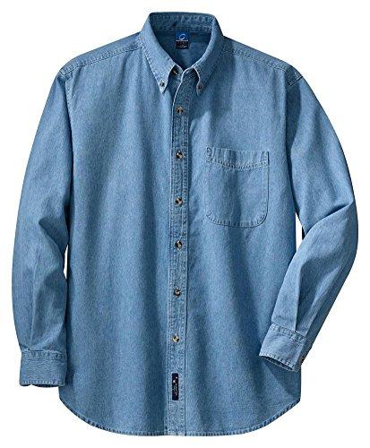 Port & Company® - Long Sleeve Value Denim Shirt. SP10 Faded Blue* L