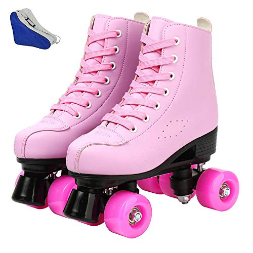 Damen Rollschuhe PU Leder High-top Rollschuhe Vierrad Roller Skates zweireihig Glänzend Rollschuhe für Indoor Outdoor (Pink, 37-US: 6)