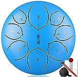 Decoración para el hogar, 8 pulgadas, 8 notas, tambor de lengua de acero, tambor, instrumento de percusión, tambor de tono con mazos, soporte de mazo, adhesivo tónico y bolsa de viaje, fabricado en