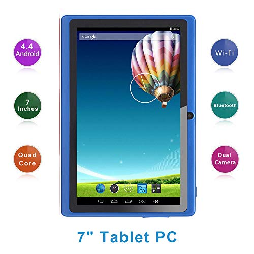 Haehne 7 Zoll Tablet PC, Google Android 4.4, A33 Quad Core, 512MB RAM 8GB ROM, Dual Kameras, WiFi, Bluetooth, für Erwachsener Kinder, Blau