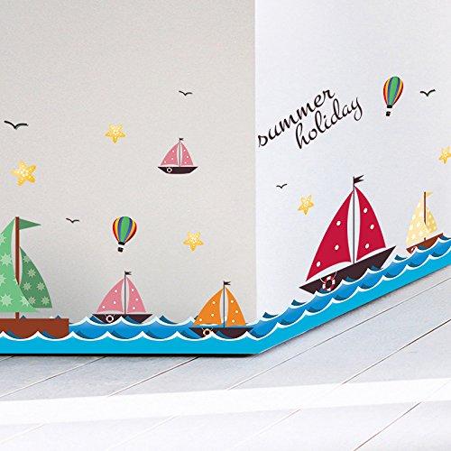 ZRDMN Muursticker Offshore Zeilen Cartoon Skirting De Badkamer Tegel Lijn, Zeilschepen Op Zee, Kan verwijderen Kunst Muren Voor Slaapkamer Woonkamer Kantoor Familie Kwekerij Badkamer Keuken