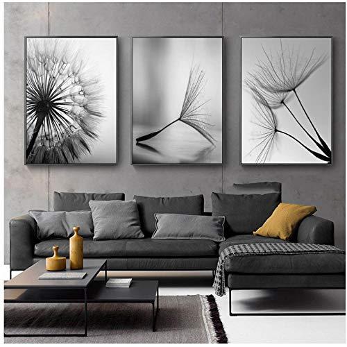 WQFairy Lámina de Diente de león Flor de Lienzo Pintura Moderna Blanco y Negro Cuadro Decoración para el hogar Sala de Estar Cartel de Pared Abstracto (3 Piezas 50x70 cm sin Marco)