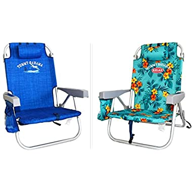 2 Tommy Bahama 2016 Backpack Cooler Beach Chair with Storage Pouch and Towel Bar (Green Floral & Blue Weave)
