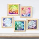 Nacnic Pack de 5 láminas con imágenes de Mandalas CREACION. Posters Cuadrados con Mandalas. Decoración de hogar. Llena tu casa de espiritualidad con Nuestros diseños