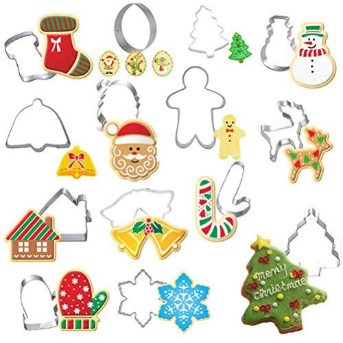 Cabilock – Conjunto de 14 cortadores de biscoito de Natal, com desenhos de floco de neve, boneco de neve, sino, luvas, para biscoito, sanduíche, de aço inoxidável, lembrancinhas de festa para crianças
