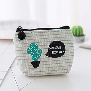 Utile en cuir porte-monnaie Femmes cactus imprimé Change Purse Zipper Pochette Clé Sacs