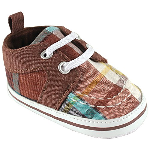 Luvable Friends Unisex Baby Crib Shoes, Brown Plaid, 12-18 Months