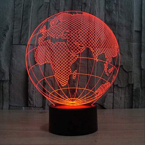Acrylique Europe Globe 3D Lampe Tactile Commutateur USB 3D Visuel Atmosphère Colorée Cadeau De Noël Veilleuse pour Enfants