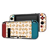 Dockable Case Compatible with Nintendo Switch Console and Joy-Con Controller, Patterned ( Cartoon Toasts with Fried Eggs ) Protective Case Cover with Tempered Glass Screen