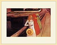 ムンク・「橋の上の少女たち」 プリキャンバス複製画・ 額付き(デッサン額/大衣サイズ/木地色)