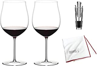 Riedel Sommeliers Burgundy Grand Cru Wine Glass, Set of 2 Includes Wine Pourer with Stopper and Riedel Polishing Cloth