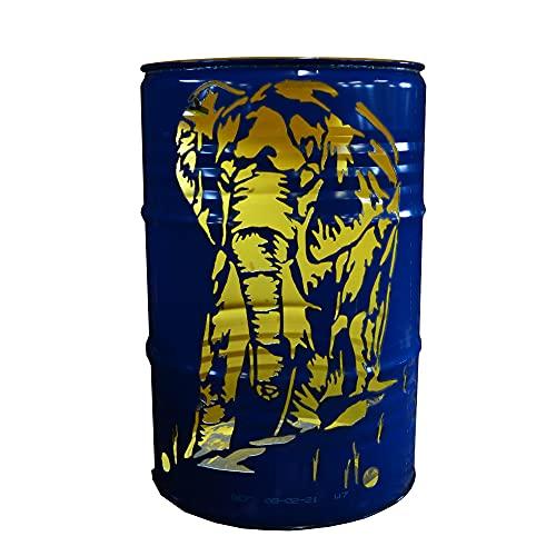 Fuchsbau Feuertonnen Feuertonne mit Elefant Motiv - Gefertigt aus 200L Ölfass - Besondere Feuerstelle für Garten und Terrasse - Hohe Feuerschale mit Rostoptik - 90 x 60 cm