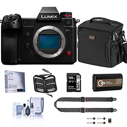 Panasonic Lumix DC-S1H Mirrorless Digital Camera Body Bundle with 128GB SD Card, Card Case, Bag, Peak Design SlideLITE Strap, Extra Battery, Screen Protector, Cleaning Kit