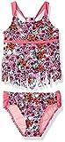 Jessica Simpson Girls' Big Ditsy Floral Fringe Tankini Two Piece Swim Set, Pink, 16