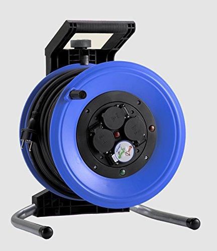 HEDI K360NTF Kabeltrommel Professional Plus 320 60m; DiagS, Thermoschutzschalter; Neopren Gummi Leitung H07RN-F 3G1,5, 250 V, Blau, Schwarz