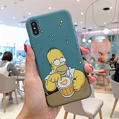JLFDHR Funda para teléfono Cartoon Homer J. Simpsons para iPhone XS MAX XR X 7 8 6 6s Plus Funda Trasera de Silicona Suave Delgada para iPhone 8 Funda de teléfono Cartoon Homer J. Simpsons para iPho