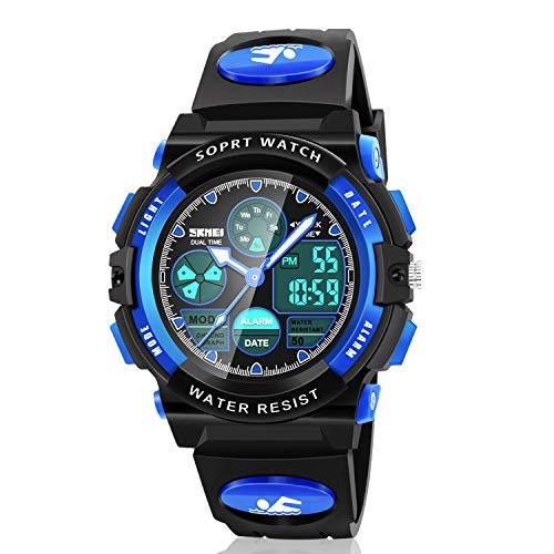 Dodosky Digitale Armbanduhr für Jungen, Sport, wasserdicht, LED-Uhr mit Wecker, Armbanduhr für Jungen und Mädchen, Blau-a