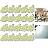 BRISHINE 20PCS 921 Interior LED Light Bulbs for RV, Super Bright 36-SMD 6000K White T10 922 912 194 LED Bulbs Replacement for Camper Trailer Motorhome Marine Boat Indoor Ceiling Dome Lights(12V DC)
