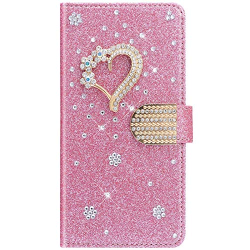 IKASEFU Compatible with iPhone 12 Mini 5.4 inch Rhinestone Diamond Sparkly Bling Glitter Wallet with Card Holder Flash Pu Leather Magnetic Folio Flip Shockproof Protective bumper Cover Case Pink