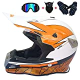 Motocross Helmet Kids Matte Negro y Amarillo Adulto Motorcycle Helmet Hombre Set con Gafas Guantes Mask Full Face Bike Casco Off Road Crash ATV MTB,2,L