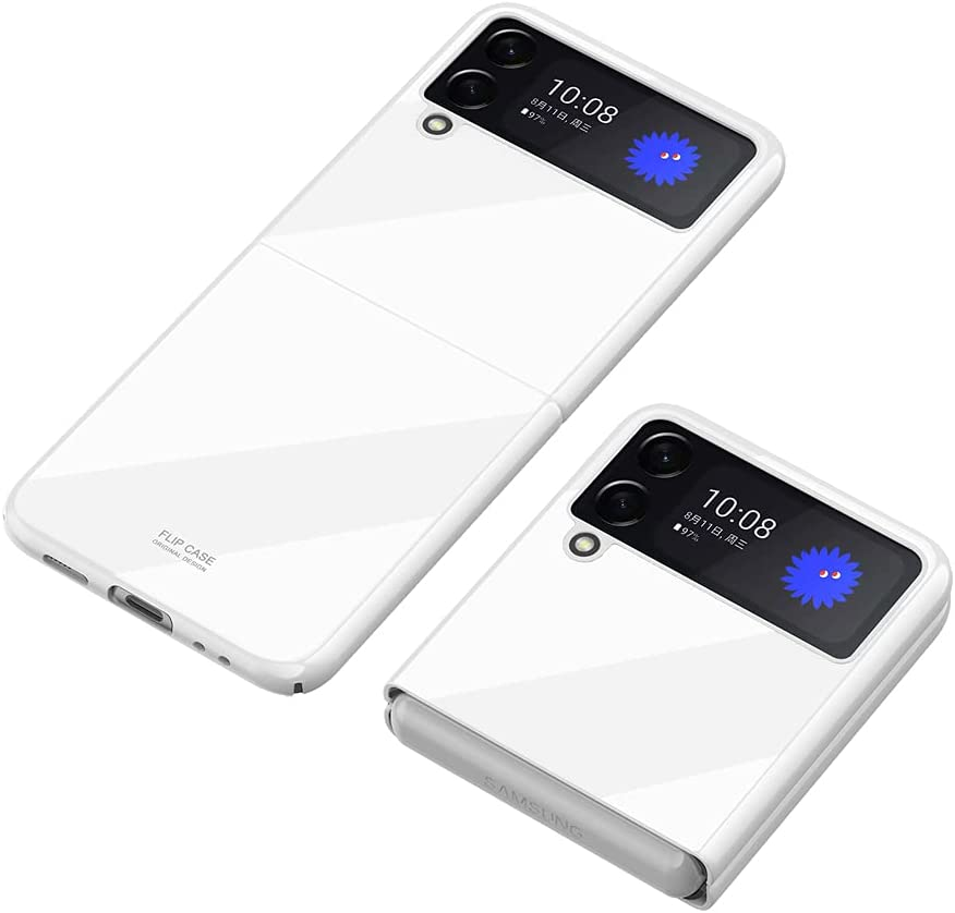 PUROOM for Samsung Galaxy Z Flip 3 Plating PC Crystal Cover Smooth Hard Plastic Anti-Scratch Shookproof Protection Case for Samsung Galaxy Z Flip 3 5G 2021 (White)