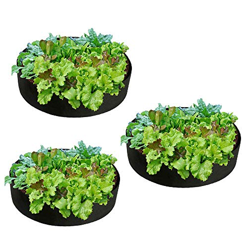 Relax love Raised Garden Bed Plant Grow Bags Breathable Soft-Sided Felt Fabric Pots Aerating Growing Basket for Nursery Garden Potato Fruit Vegetable Flower and Planting Grow (3 Pcs, 15 Gallon)