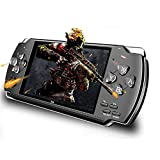 Jackky 8GB 4.3'' 1000 LCD Screen Handheld Portable Game Console, Media Player with Camera Built in 1200+Real Video Games, for gba/gbc/SFC/fc/SMD Games, Best Gift for Kids and Adults -Black