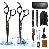 Xnuoyo 17 PCS Haarschere Set, Edelstahl Scharfe Friseurscheren, Haarschneideschere Licht Einseitiger Effilierer, Effilierschere - Profi Friseur Schere Haare Perfekter Friseurschere