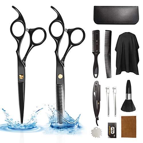 Xnuoyo Forbici da Parrucchiere, Professionali in Acciaio Inossidabile Kit Forbici con Mantello da Barbiere e Pettine da Rasoio per Forniture da Barbiere e Salone di Casa (Black)