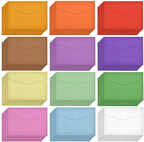 60 sobres pequeños Sobres coloridos Sobres pequeños multicolor para tarjetas de regalo, bodas, suministros para fiestas de cumpleaños, 11,5 x 8,2 cm Color aleatorio