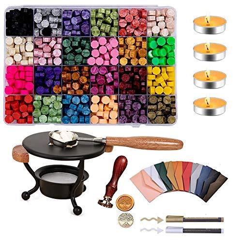 Sangshi Seal Wax - Kit de sellado, para tabletas, con cuchara, sello de sellado, para álbumes de recortes, bodas, invitaciones decorativas, sellado con horno, sello para manualidades