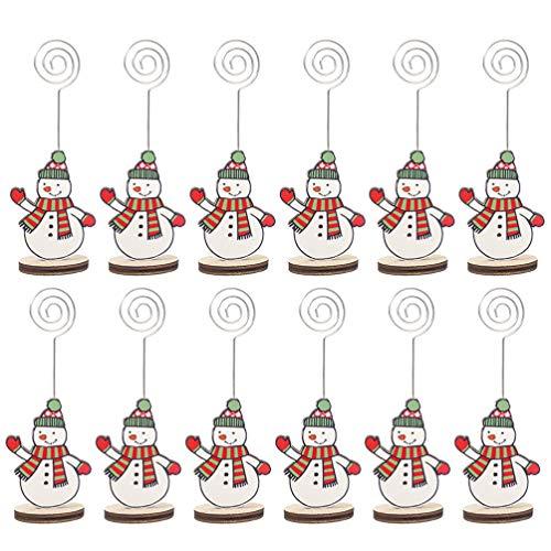 Doitool 12 Unids Lugar de Navidad Titular de La Tarjeta Lugar Decorativo Titular de La Tarjeta de Memo Titulares de Número de Mesa para La Tarjeta Foto Decoración Del Banquete de Navidad