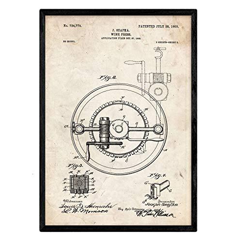 Nacnic Plakat mit Wein Crimpen Patent 2. Film mit altem Design-Patent in der Größe A3 und Vintage-Hintergrund